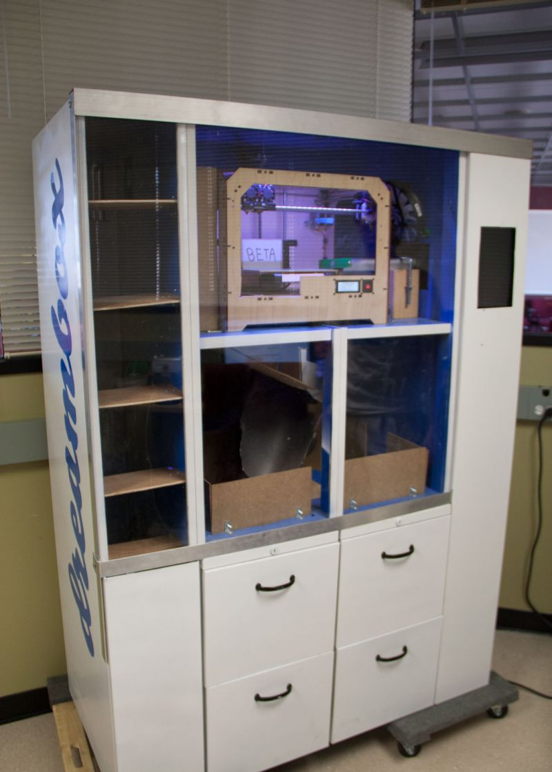 The Dreambox, nicknamed Dolly, is the first fully automated 3D printing vending machine. Customers can select an object or enter their own design, and watch it print before their eyes. (Sean Greene/KQED)