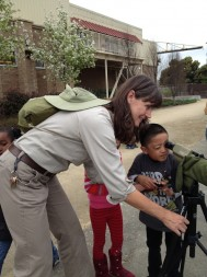 Students looked through a spotting scope to see live birds up close.