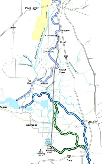 Path of two 35-mile tunnels through the Sacramento-San Joaquin Delta. (Graphic: Bay Delta Conservation Plan)