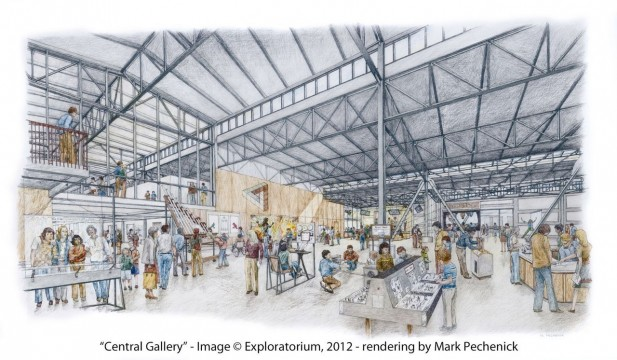An artist's rendering of the Central Gallery in the new building, where exhibits will focus on sight and sound. (Mark Pechenick/Exploratorium)