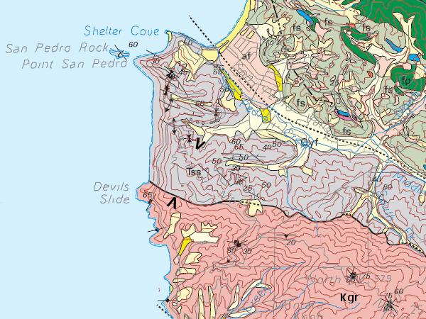 Kgr, granitic rocks of Montara Mountain; Tss, Paleocene sandstone and shale; fs and fg, Franciscan sedimentary rocks; blue, Franciscan limestone