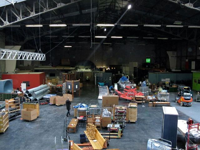 Packing up exhibits at the Palace of Fine Arts, the Exploratorium's former home. (Joshua Cassidy/KQED)