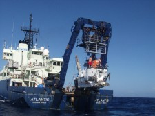 The Deep Submergence Vehicle Alvin is launched from the R/V Atlantis for the first dive to Manning seamount. Courtesy Mountains in the Sea Research Team; the IFE Crew; and NOAA/OAR/OER