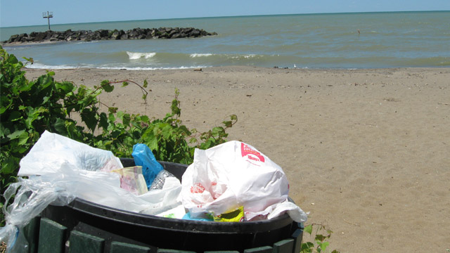 Plastic trash is making its way into Lake Erie, where researchers have found a higher density of plastics than any other body of water. Credit: WCPN ideastream