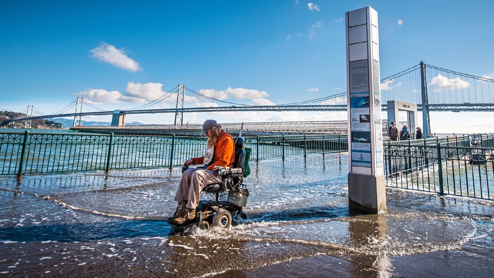 Flooding near the Bay Bridge during an extremely high tide. Photo by Michael Filippoff