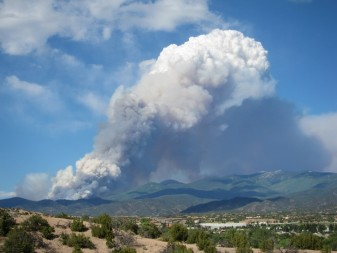 The Pacheco Fire, in June 2011, viewed from Santa Fe, N.M. (Photo by Craig D. Allen, USGS)