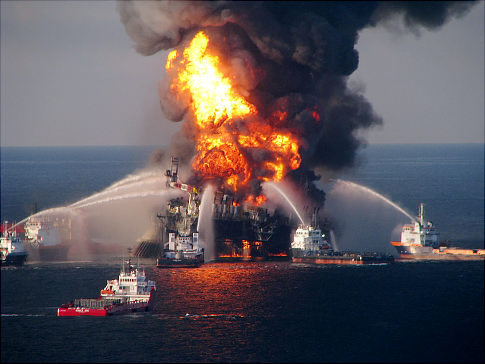 Deepwater Horizon in flames, April 21, 2010.