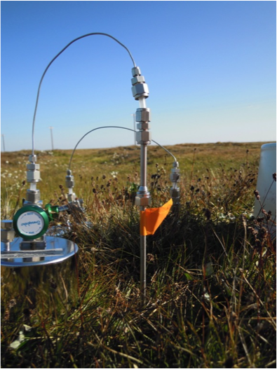 Equipment that measures greenhouse gas fluxes from the tundra into the atmosphere.