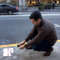 Litterati founder Jeff Kirshner tags a piece of litter in Oakland, CA.