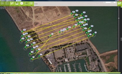 This drone above the Berkeley Marina follows GPS coordinates and takes pictures at specified points to create a terrestrial map. Photo courtesy of 3D Robotics