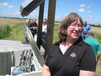 Ohio State's Libby Dayton explains how her team's research gear takes periodic water samples to test for nutrient runoff.