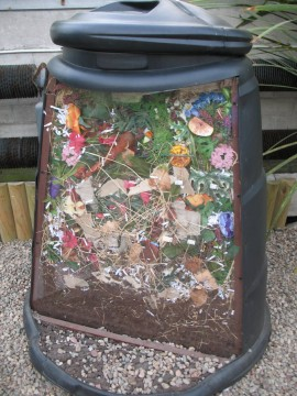 A cutaway view of an outdoor compost bin.   Photo Credit:  Bruce McAdam / Flickr