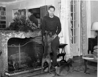 Louis Bromfield was especially fond of his four beloved boxers, Prince, Baby, Gina and Folly. Credit: Malabar Farm Archives