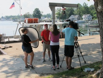 Dr. Jeff Reutter tells us all about harmful algal blooms on Lake Erie in front of Stone Lab on South Bass Island. Credit: Jean O'Malley