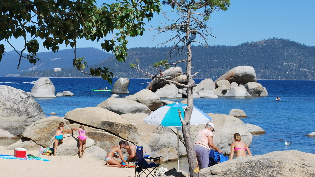 Visitors at Lake Tahoe's Sand Harbor.