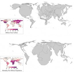 In the upper map, countries are sized based on their greenhouse gas production