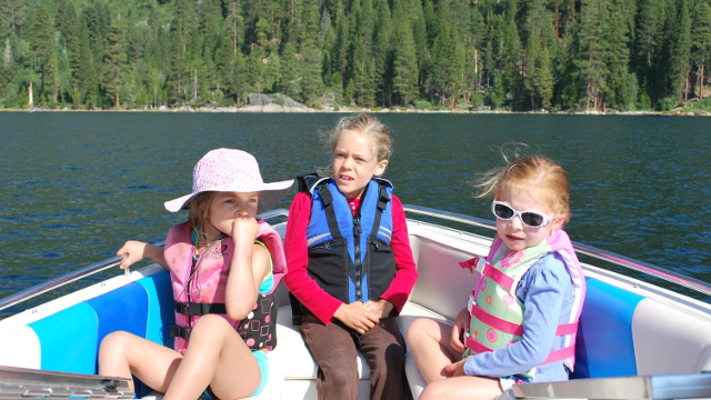 Girls take a ride on Emerald Bay, in Lake Tahoe