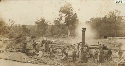 An early saw mill provides evidence as to how important our landscapes were to early settlers in Nebraska.  Trees were not plentiful in many places in the state.  So, a sawmill was a grand contribution to any town.  Waves of settlers along the early trails, the railroad, and then the Homesteaders took their toll on the trees that did exist in Nebraska.  Many described the search for wood as a major frustration in their lives.  (Caption by Larkin Powell. Photo: Sellor Museum Collection; Brown County Historical Society.)
