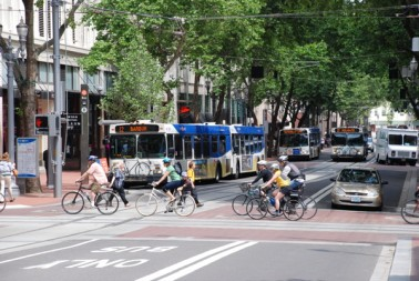 Patz' research shows that climate-change mitigation strategies like biking and using public transit have health benefits of their own. Image by Steve Morgan.