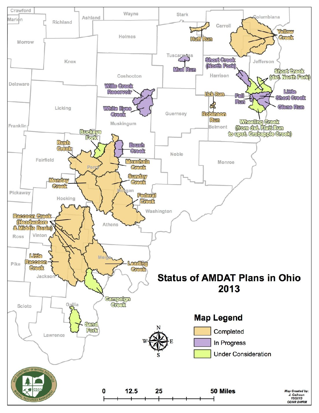 To date, the Ohio Department of Natural Resources has partnered with watershed groups to complete 55 AMD projects. Credit: Ohio Department of Natural Resources