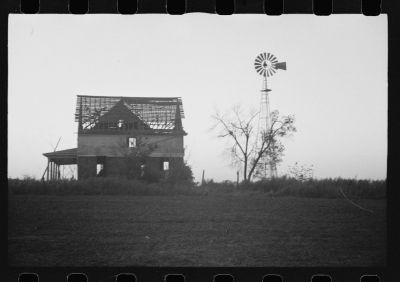 An abandoned farm in Nebraska in 1938.  Following 1920, the number of farms in Nebraska decreased while the size of farms increased—due largely to economic forces such as the Great Depression, ag exports, and mechanization.  Bigger patches of crop land usually mean less wildlife habitat, and disappearing farm families have also meant disappearing wildlife.  (Caption by Larkin Powell. Photo by John Vachon, US Farm Security Administration; Library of Congress Collection.)