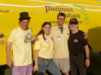 Piedmont Biofuels co-founders with Willie Nelson.  Photo courtesy Tami Schwerin