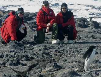 Dr. Wall and her team encounter a Penguin on a field study in Antarctica in 2006.