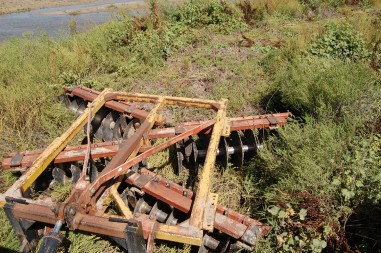 One of the agricultural disks the Crane Trust uses to remove invasive weeds, shrubs and young trees from the river channel and banks. (Photo by Ariana Brocious, NET News)