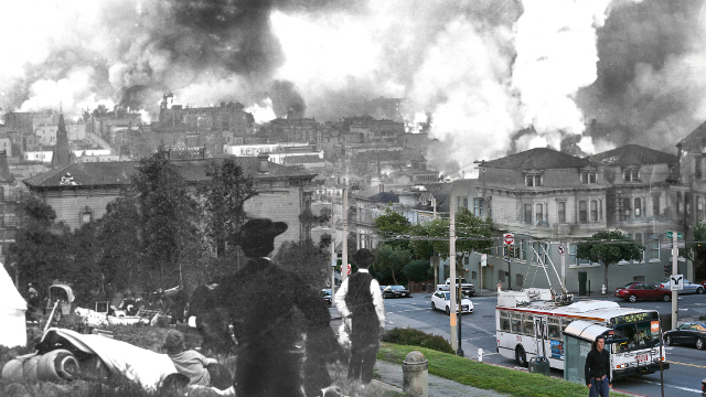 A mashup of San Francisco's Pacific Heights neighborhood right after the 1906 earthquake and what the area looks like today. Credit: Shawn Clover