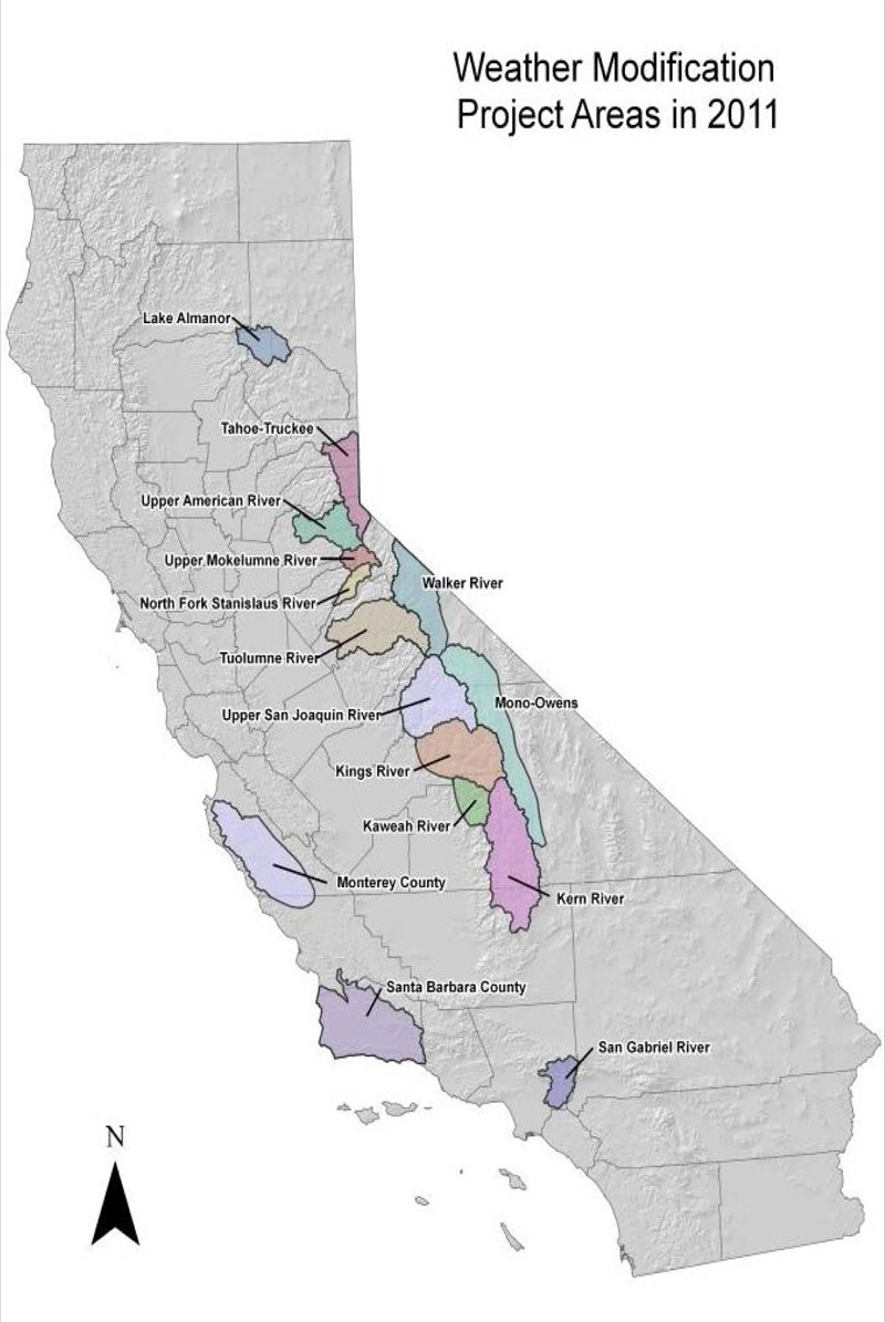Click to enlarge - cloud seeding areas in California. (Source: California Department of Water Resources)