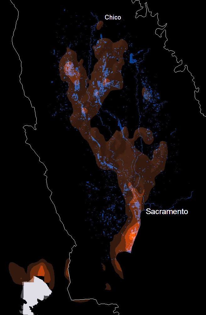 The orange areas show where migratory birds are likely to be on March 17 in the Central Valley, based  on citizen science observations from eBird. The blue shows available waterways and wetlands. Scientists used a series of these maps to look for areas where wetlands are lacking. (Source: Cornell eBird, Point Blue Conservation Science, The Nature Conservancy)