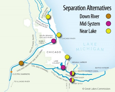 The Chicago Area Waterway System, determined to be the easiest way for Asian carp to enter the Great Lakes. Credit: Greats Lakes Commission.