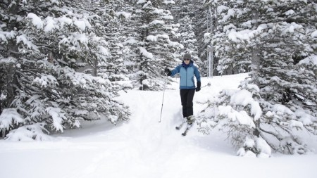 Mage Hultstrand skis to the Joe Wright SNOTEL site near Cameron Pass, in Colorado.