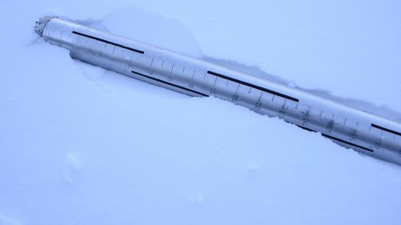 This specially-calibrated tube measures snow depth, weight and density. (Photo by Peter Stegen, Platte Basin Timelapse)