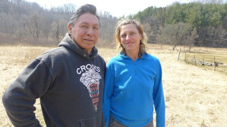 Bill Greendeer and Juliee de la Terre are passionate about rewilding, or bringing back the native plants and animals, on not just Bill's land, but elsewhere throughout the area. Photo credit: Maureen McCollum/WPR