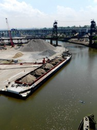 Shipping activity on the Cuyahoga River. Every year nearly 13 million tons of iron ore, limestone, cement, and salt come through the Port of Cleveland. Photo by ideastream staff.
