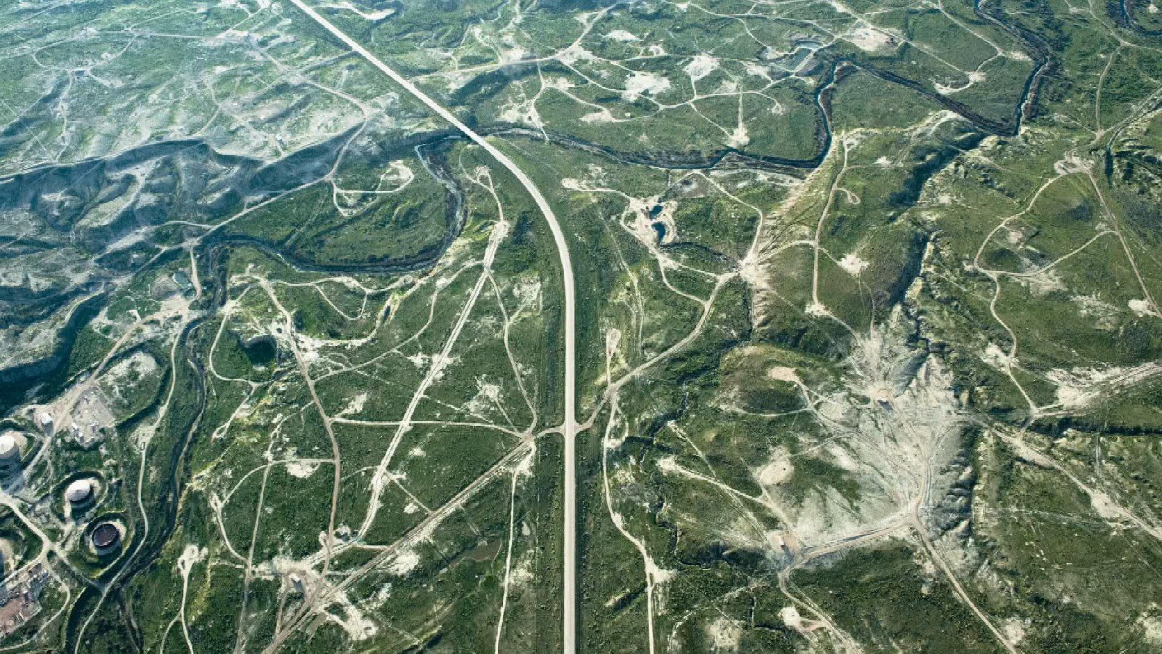 Aerial, gas and oil fields, Wyoming