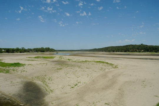 The Platte River in Nebraska in 2012, one of the hottest and driest years on record. (Photo credit Michael Forsberg, Platte Basin Timelapse)