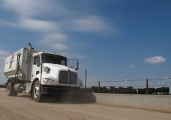 A feed truck drives along a concrete bunk in a cattle feedlot.