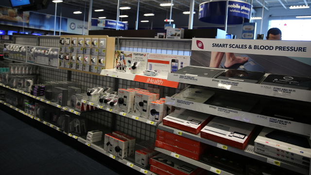 A row of electronic health monitoring devices at a Best Buy store in San Francisco.  Photo by Arwen Curry / KQED QUEST