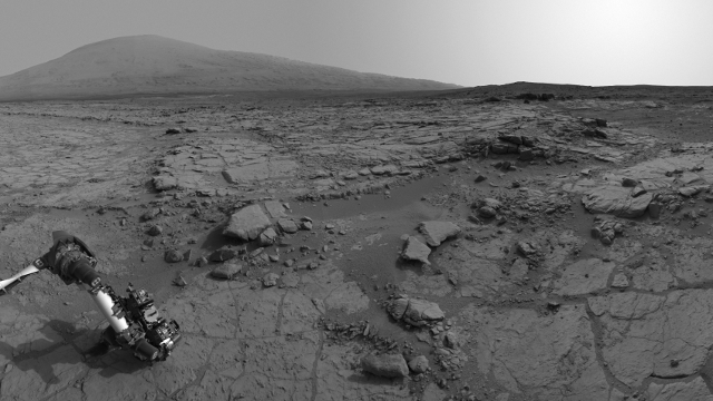 This  image was taken by Curiosity's Navigation Camera (Navcam), with Mount Sharp visible on the southern horizon. Image courtesy NASA / JPL - Caltech