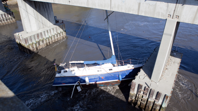 Just after a devastating tsunami struck the coast of Japan in March 2011, the tsunami waves struck the coast of California, where they damaged harbors, including the Santa Cruz harbor. Image courtesy Matt Corley