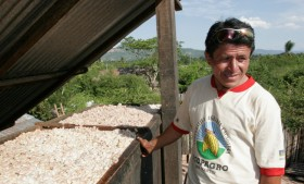 A Peruvian cacao farmer with a batch of beans. Courtesy TCHO.
