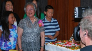 "Helen Hong's family celebrated her 80th birthday with a banquet at Koi Palace restaurant in Daly City on Aug. 17. Her grandchildren Lauryn Horita, Nicole Horita, Emily Hong and Dylan Hong sang ""Happy Birthday,"" while KQED's Blake McHugh filmed."