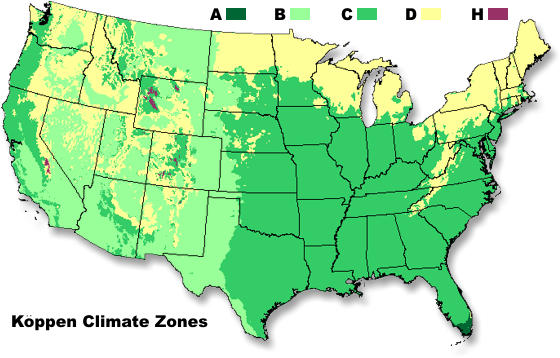 Map of the major climate zones in the United States