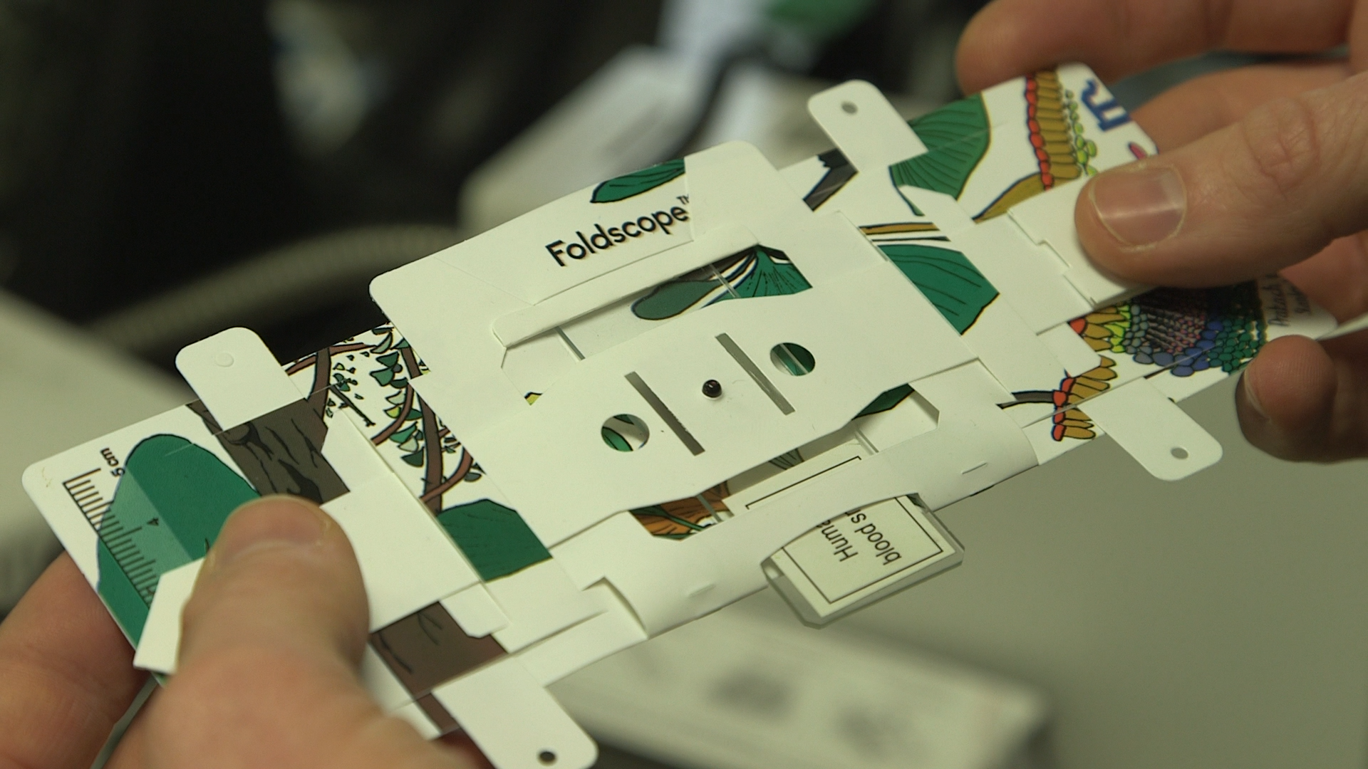 close up of the Foldscope