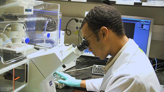 Elijah Martin at microscope