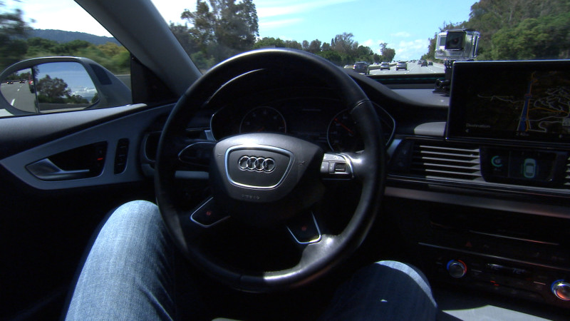 Audi's self-driving prototype is capable of changing lanes on its own when driving on the highway. Image by Blake McHugh, KQED Science