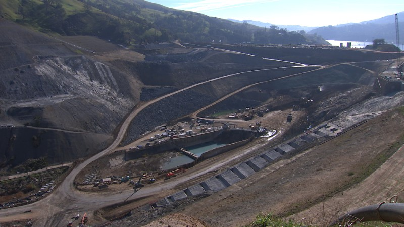 Ten million cubic yards of earth and rock will need to be excavated for the construction of the new Calaveras Dam, located at the Alameda-Santa Clara county line. Image by Owen Bissell for KQED Science