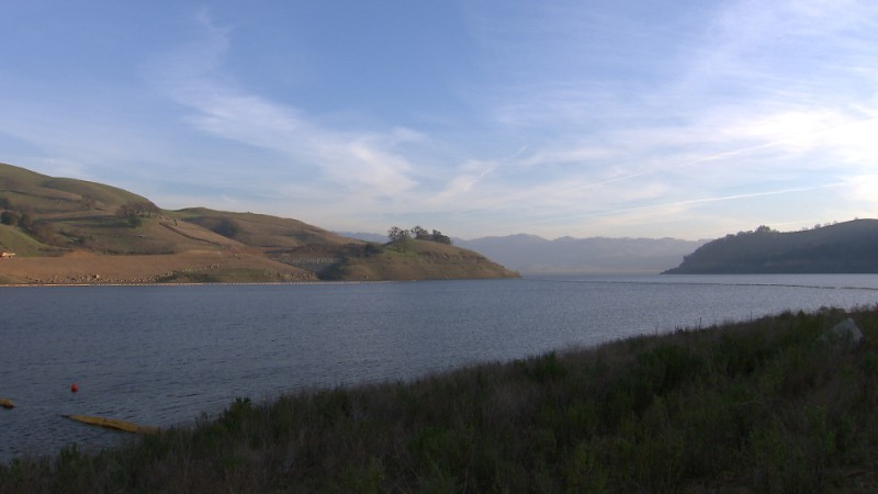 The Calaveras Reservoir is located just 1500 feet from the Calaveras fault, one of three active faults the Hetch Hetchy water system crosses in the Bay Area. Image by Owen Bissell for KQED Science